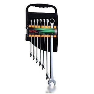 Zestaw kluczy płasko-oczkowych TOPTUL 7 sztuk